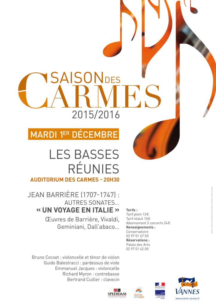 Concert Basses Réunies le 1er décembre 2015 à l'Auditorium des Carmes